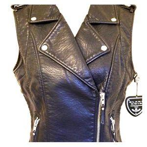 Blanc Noir Black Moto Vest